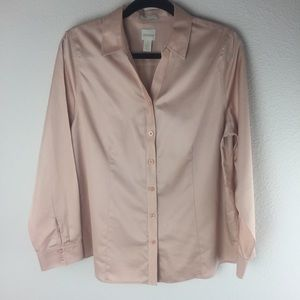 Chico's Career Work Blush Pink Shirt Size 1 / 8
